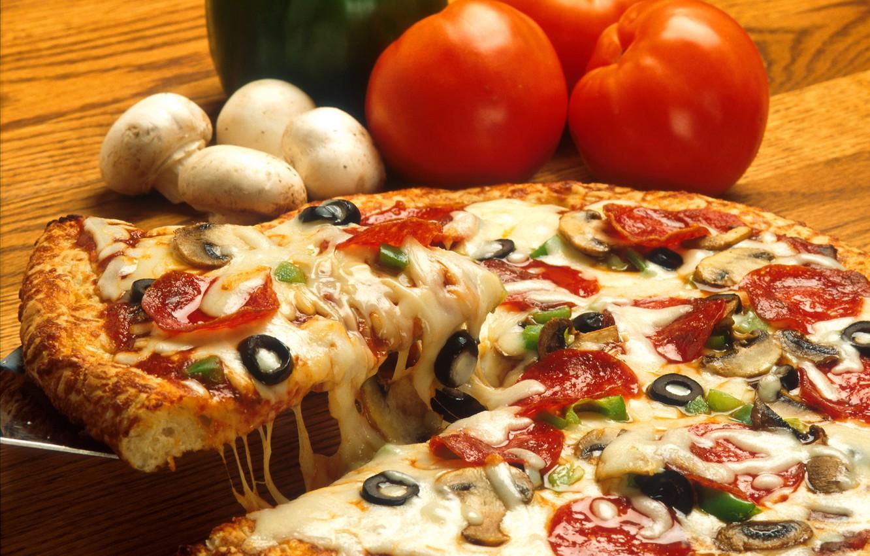 Photo wallpaper Tomato, Pizza, Mushroom, Food