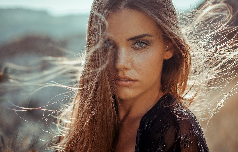 Photo wallpaper look, girl, the sun, portrait, makeup, hairstyle, brown hair, beautiful, bokeh, Anne Hoffmann, kassio. epia