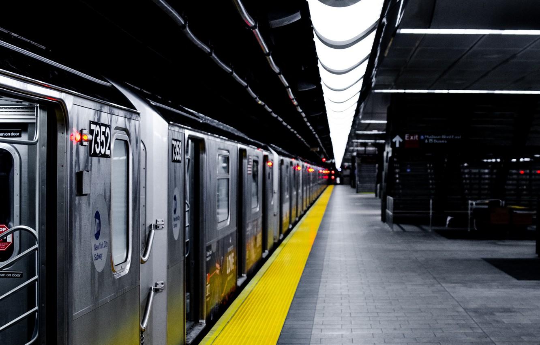 Photo wallpaper metro, train, station, subway
