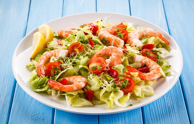 Photo wallpaper greens, plate, shrimp, seafood