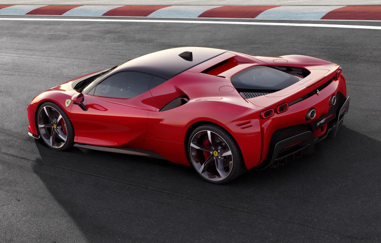 Photo wallpaper lights, Ferrari, sports car, drives, Road, SF90