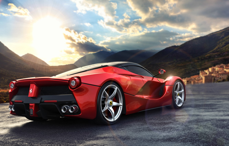 Photo wallpaper road, the sun, mountains, lights, view, Ferrari, Ferrari, wheel, Ferrari Rear