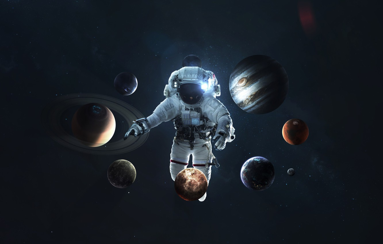 Wallpaper Saturn The Moon Space Earth Planet Astronaut