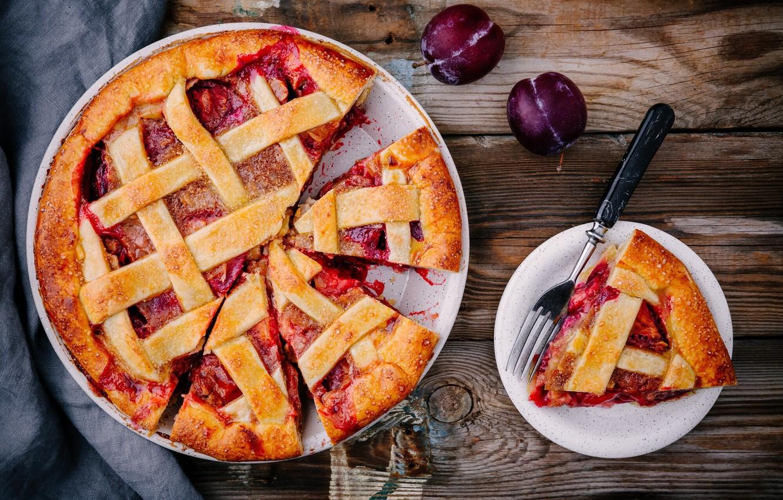 Photo wallpaper pie, plum, cakes, plum