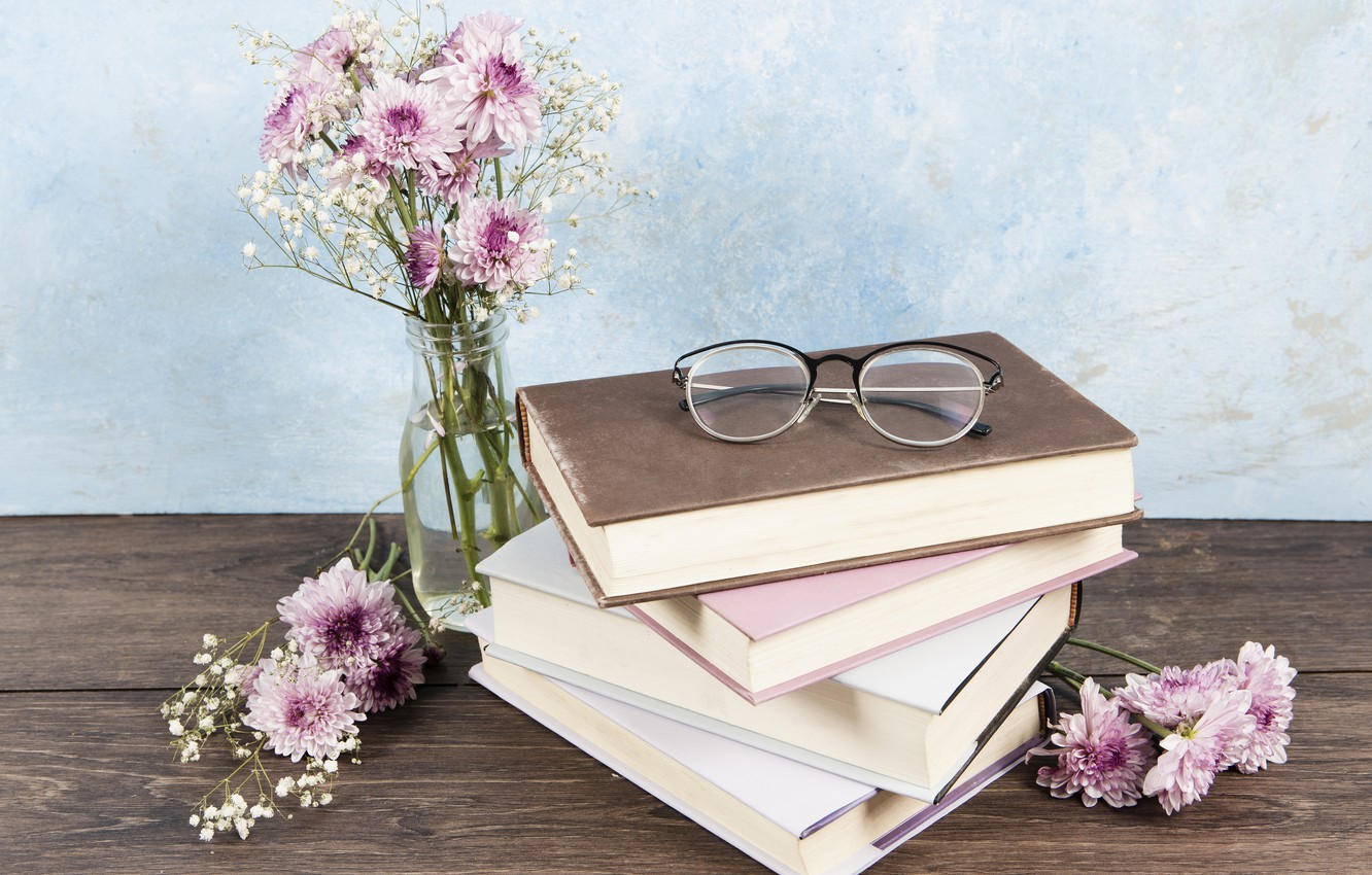 Photo wallpaper flowers, table, books, bouquet, glasses, vase
