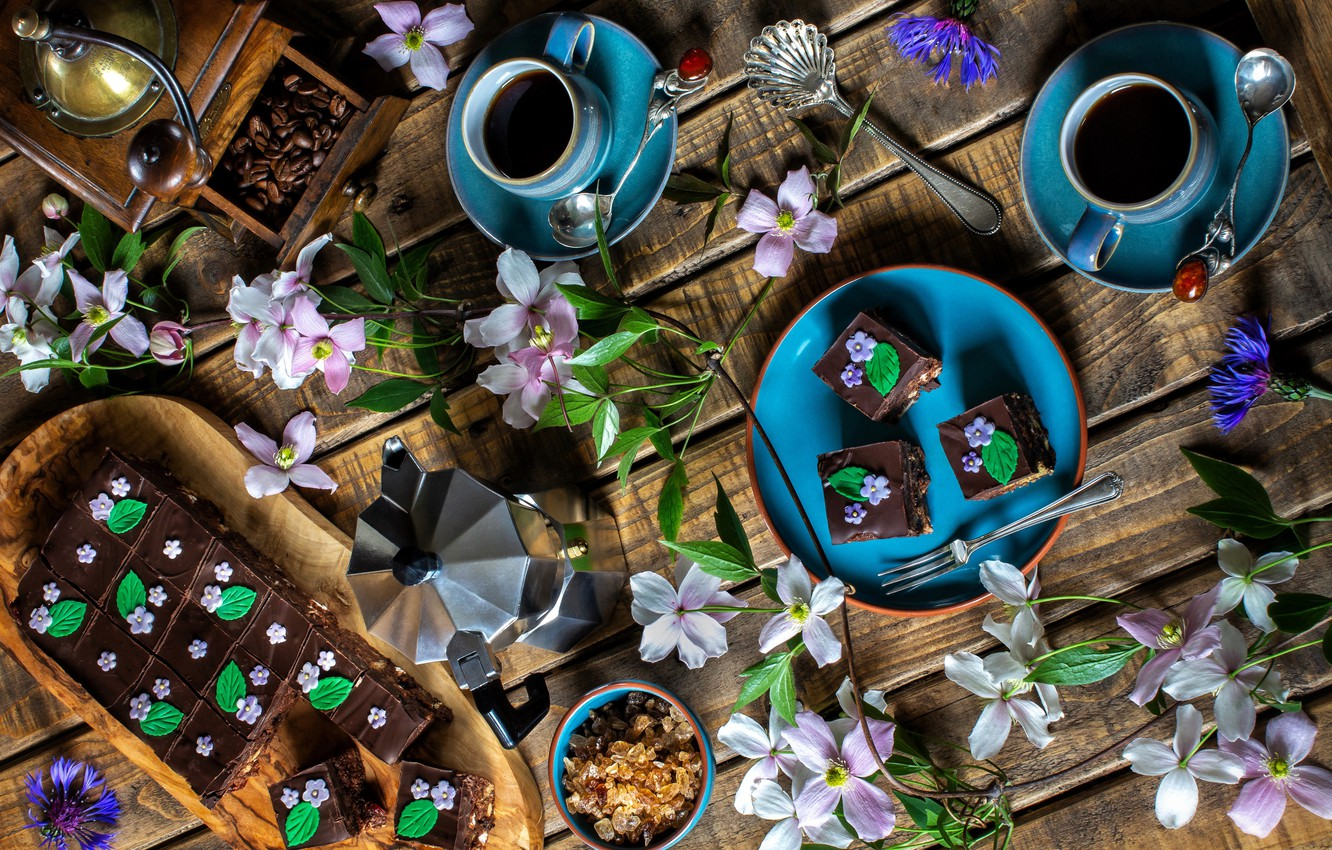 Photo wallpaper branches, coffee, Cup, cake, coffee beans, serving
