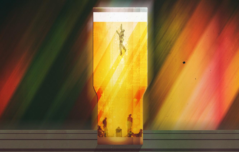Photo wallpaper Figure, Beer, Alcohol, Art, Art, Alcohol, Bakal, Daniel Simmonds, by Daniel Simmonds, Don't Sink, Dependence