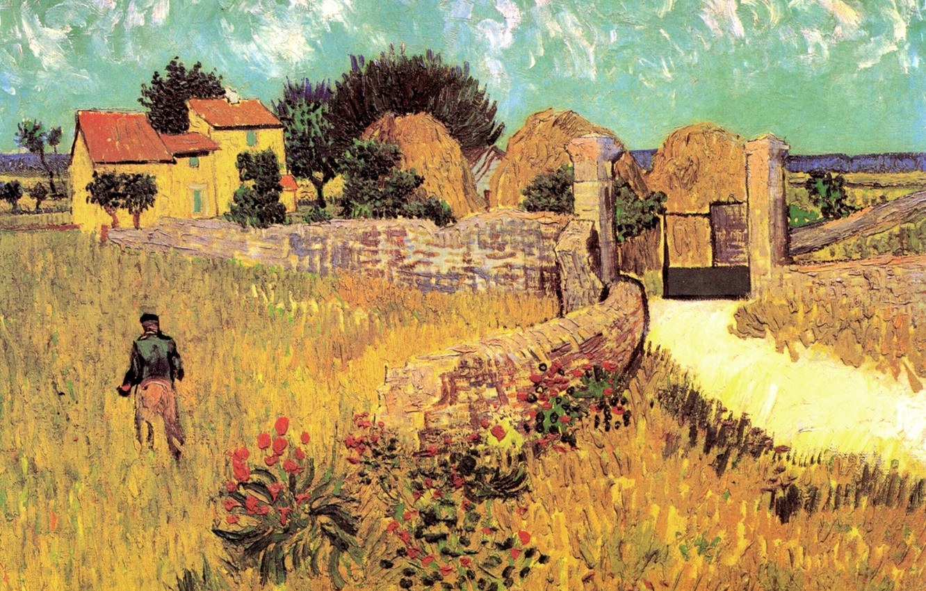 Photo wallpaper flowers, house, gate, male, Vincent van Gogh, Farmhouse, in Provence