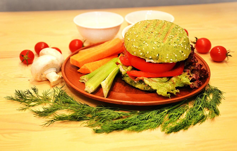 Photo wallpaper mushrooms, dill, hamburger, vegetarian, tomatoes