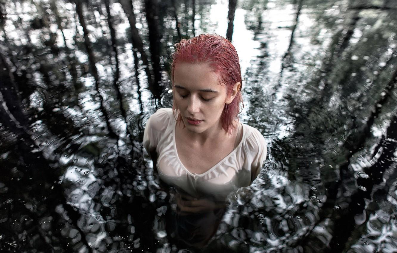 Photo wallpaper girl, drops, in the water, Ivan Ivanchenko