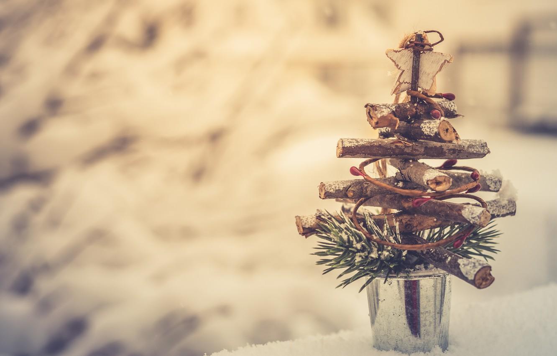 Photo wallpaper snow, bucket, tree