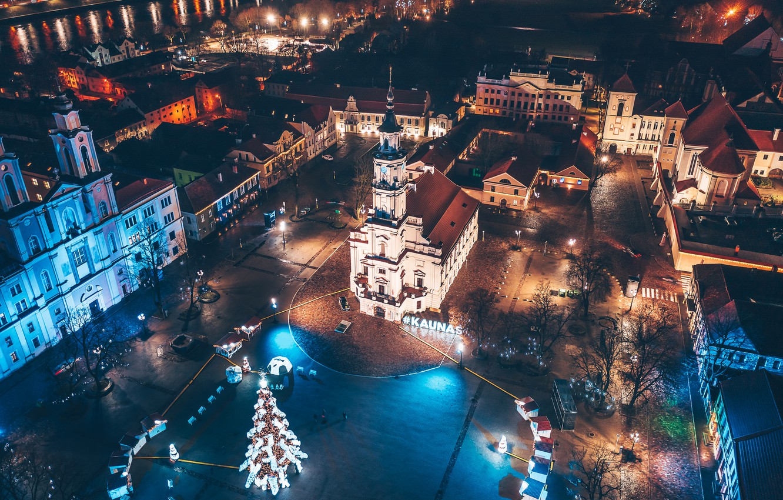 Photo wallpaper Lithuania, Kaunas, nights