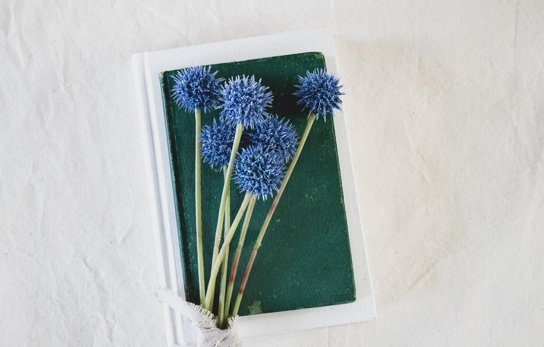 Photo wallpaper flowers, background, books, fabric