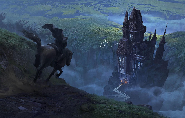 Photo wallpaper House, Castle, Horse, Warrior, Fantasy, Art, Knight, Castle, Illustration, Concept Art, The middle ages, Return …