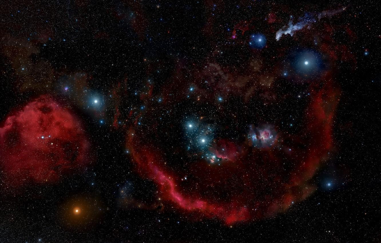 Photo wallpaper Stars, Nebula, Emission nebula, Constellation of Orion, Barnard's Loop, Orion Molecular Cloud Complex, Sh 2-276