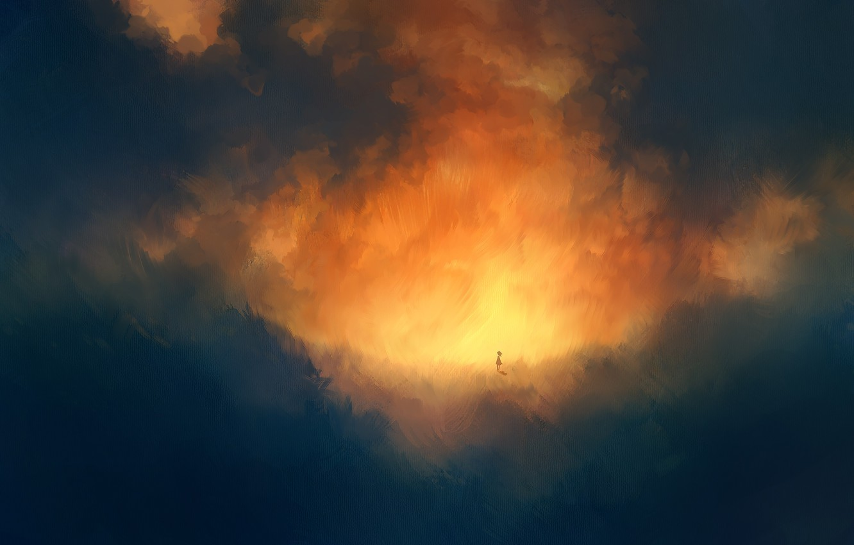 Photo wallpaper clouds, sunset, surrealism, girl