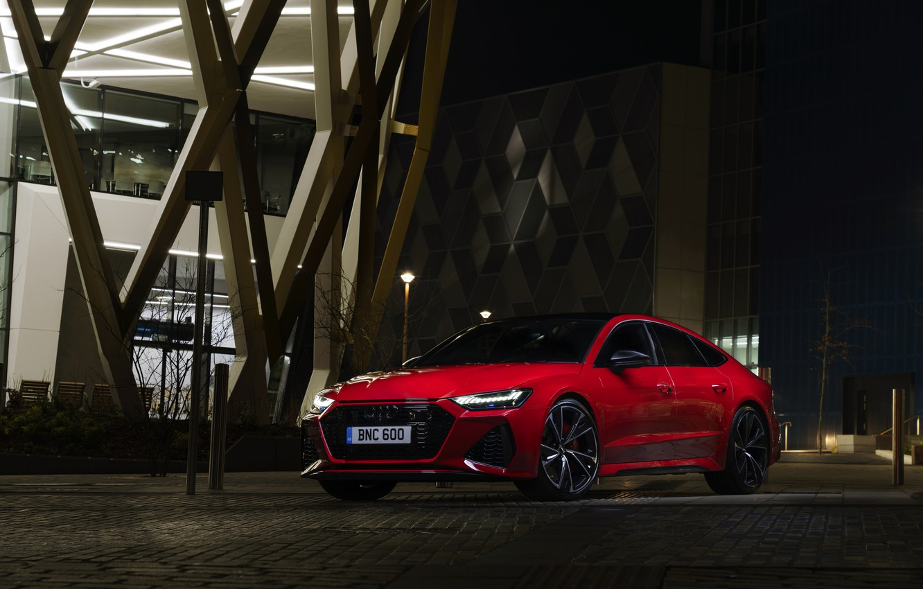Photo wallpaper Audi, the building, the evening, RS 7, 2020, UK version, RS7 Sportback