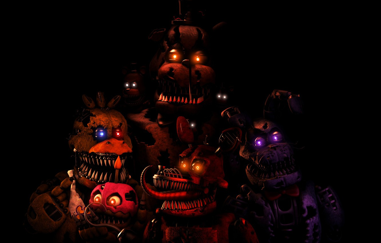 Wallpaper Night Glowing Eyes Five Nights At Freddy S Five