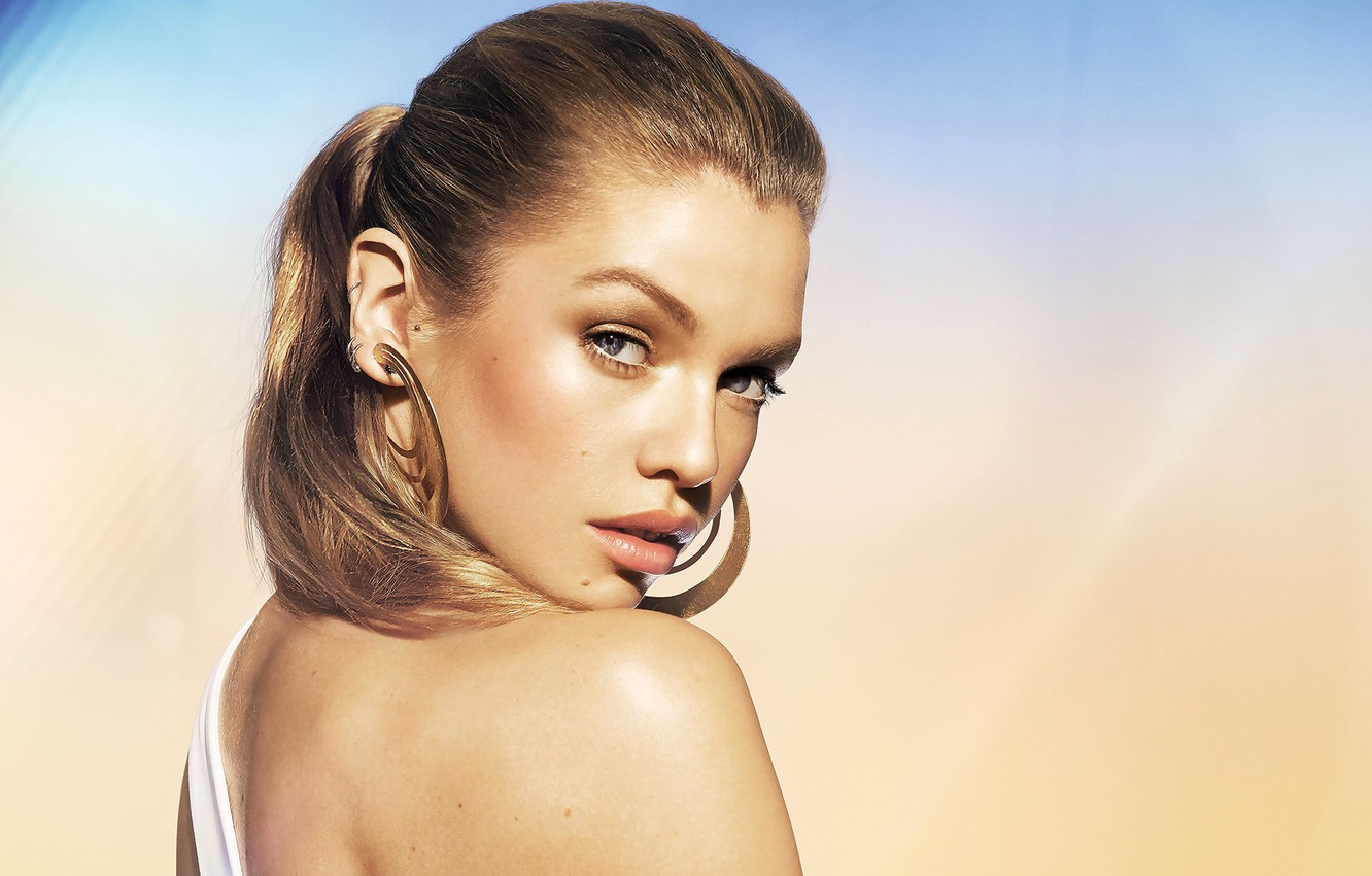 Photo wallpaper look, decoration, face, background, model, portrait, earrings, makeup, hairstyle, beauty, shoulder, Stella Maxwell