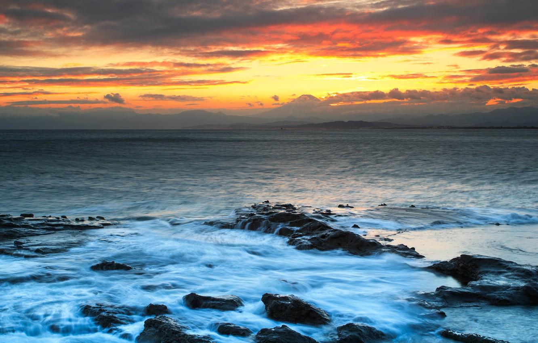 acea68a21fa3 Photo wallpaper sea wave the clouds landscape sunset mountains jpg 1332x850 Fuji  japanese the wave desktop