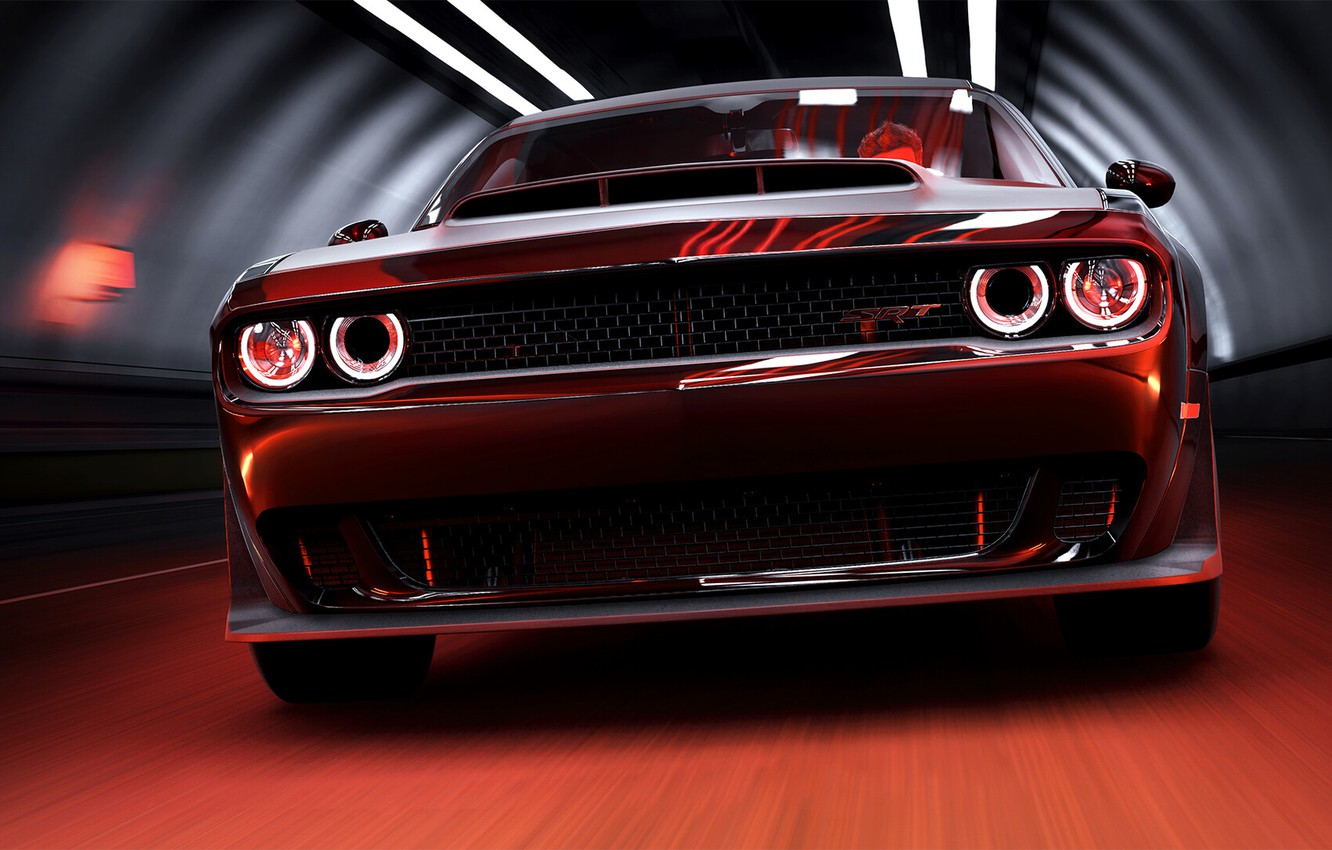 Wallpaper Dodge Challenger Demon Machine Game Art Transport