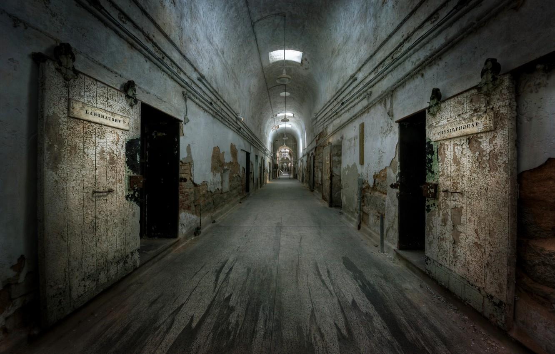Photo wallpaper background, prison, corridor