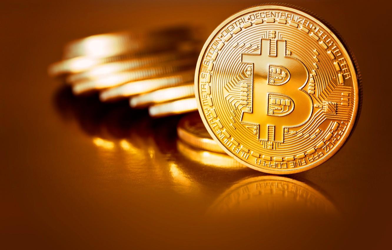 Photo wallpaper blur, coins, gold, coins, bitcoin, bitcoin, btc
