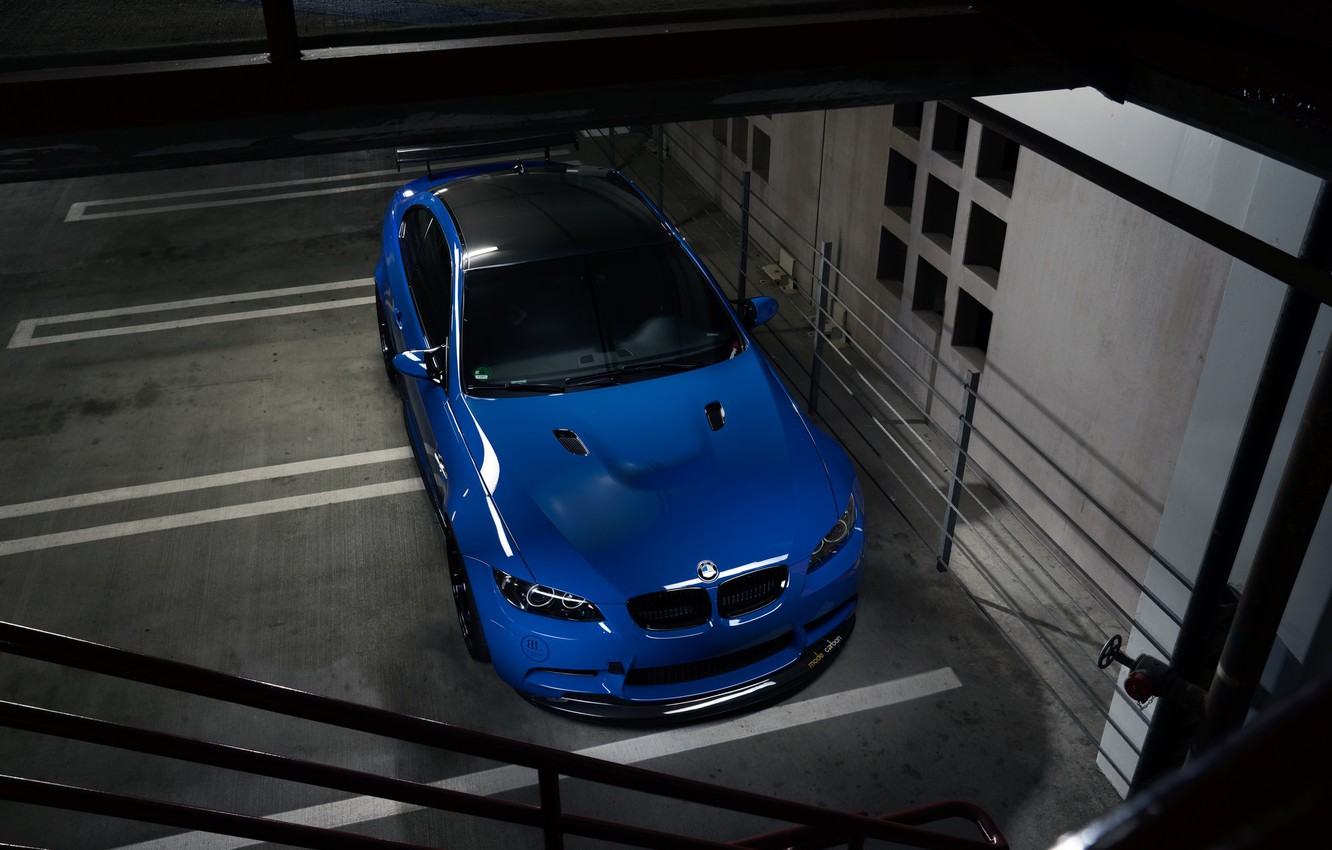 Photo wallpaper BMW, Blue, E92, Sight