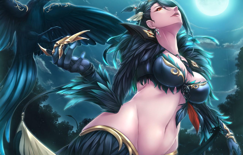 Photo wallpaper dark, girl, moon, game, armor, sky, woman, crow, anime, cloud, beautiful, pretty, animal, MMORPG, brunette, …