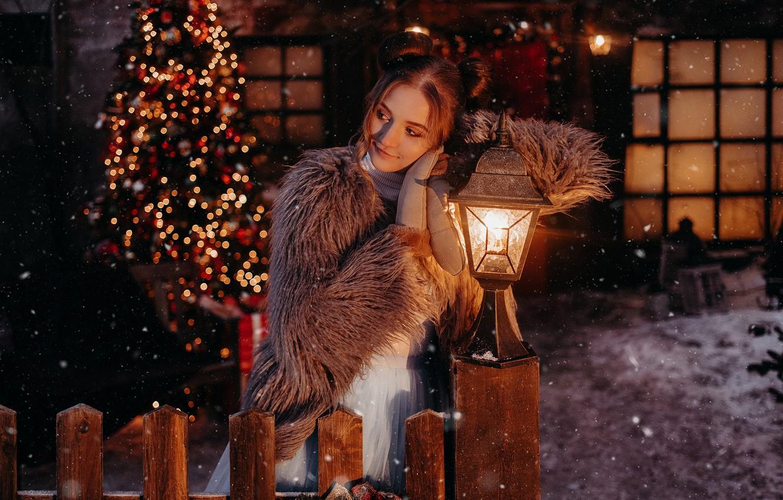 Photo wallpaper girl, pose, mood, the fence, Christmas, lantern, New year, tree, chubaka, by Альбина Пономарева, Анютка …