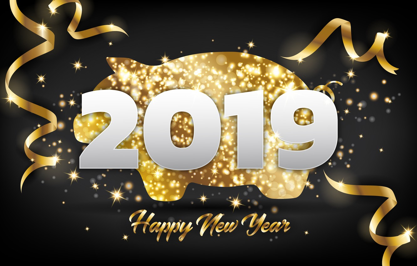 Photo wallpaper background, gold, New Year, figures, golden, New Year, Happy, 2019