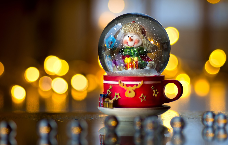 Photo wallpaper glare, Christmas, mug, New year, snowman, glass globe