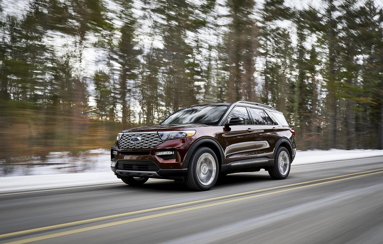 Photo wallpaper forest, Ford, SUV, Explorer, Platinum, 2020