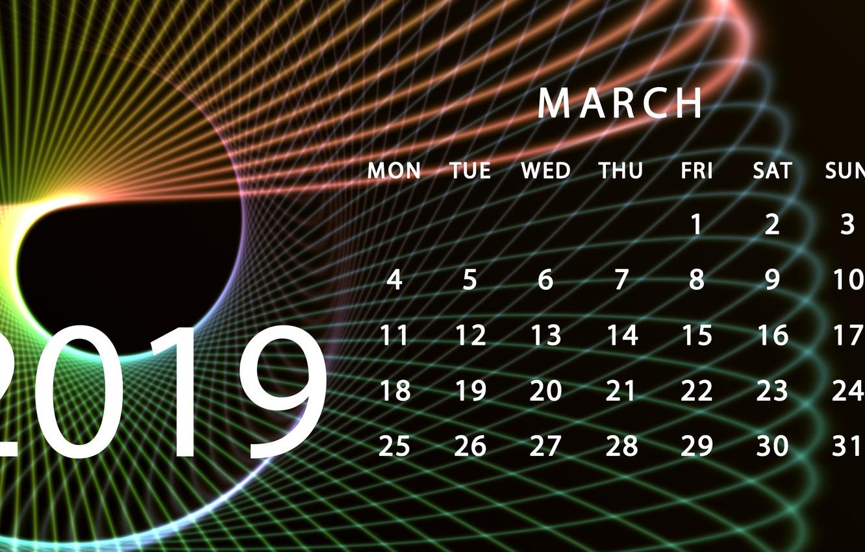 Photo wallpaper calendar, March, 2019