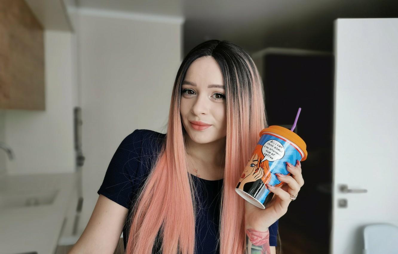 Wallpaper girl, close-up, face, room, model, hair, tattoo