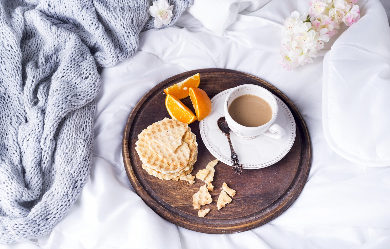Photo wallpaper coffee, Cup, bed, tulips, flowers, romantic, coffee cup, croissants, growing, breakfast