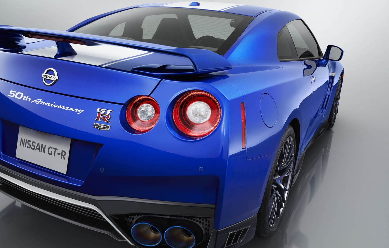 Photo wallpaper Blue, Lights, Nissan GT-R, Back, 50th Anniversary Edition, 2020, Jubilee supercar, Japanese car