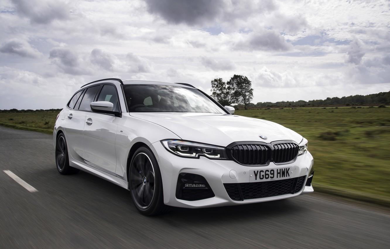 Photo wallpaper white, BMW, 3-series, universal, 3P, 2020, UK version, G21, 330i Touring