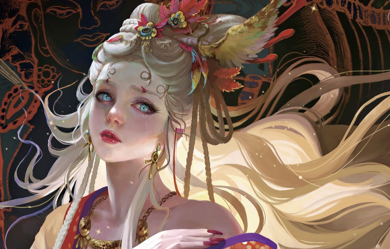 Wallpaper Decoration Hand Necklace Blue Eyes Priestess Tears Goddess Headdress Long White Hair By Tea Me Images For Desktop Section Art Download