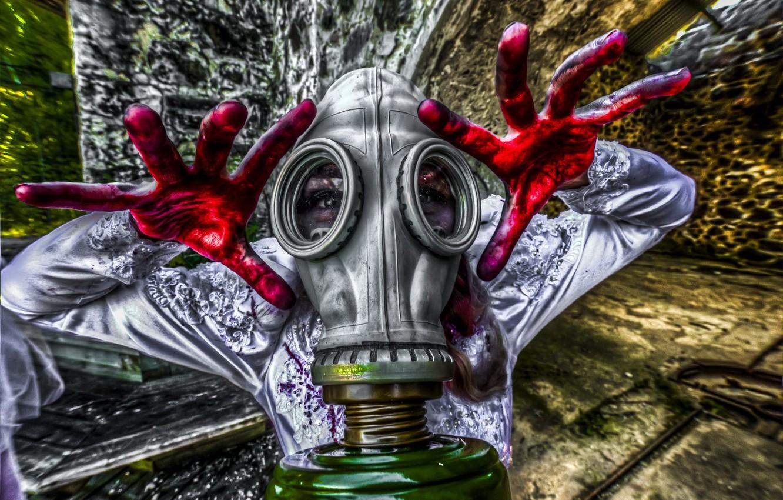 Photo wallpaper pose, people, gas mask