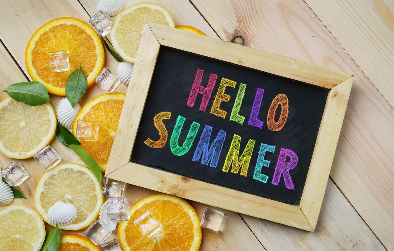 Photo wallpaper lemon, orange, ice, lemon, ice, summer, fruit, fruit, orange, citrus, hello, slice