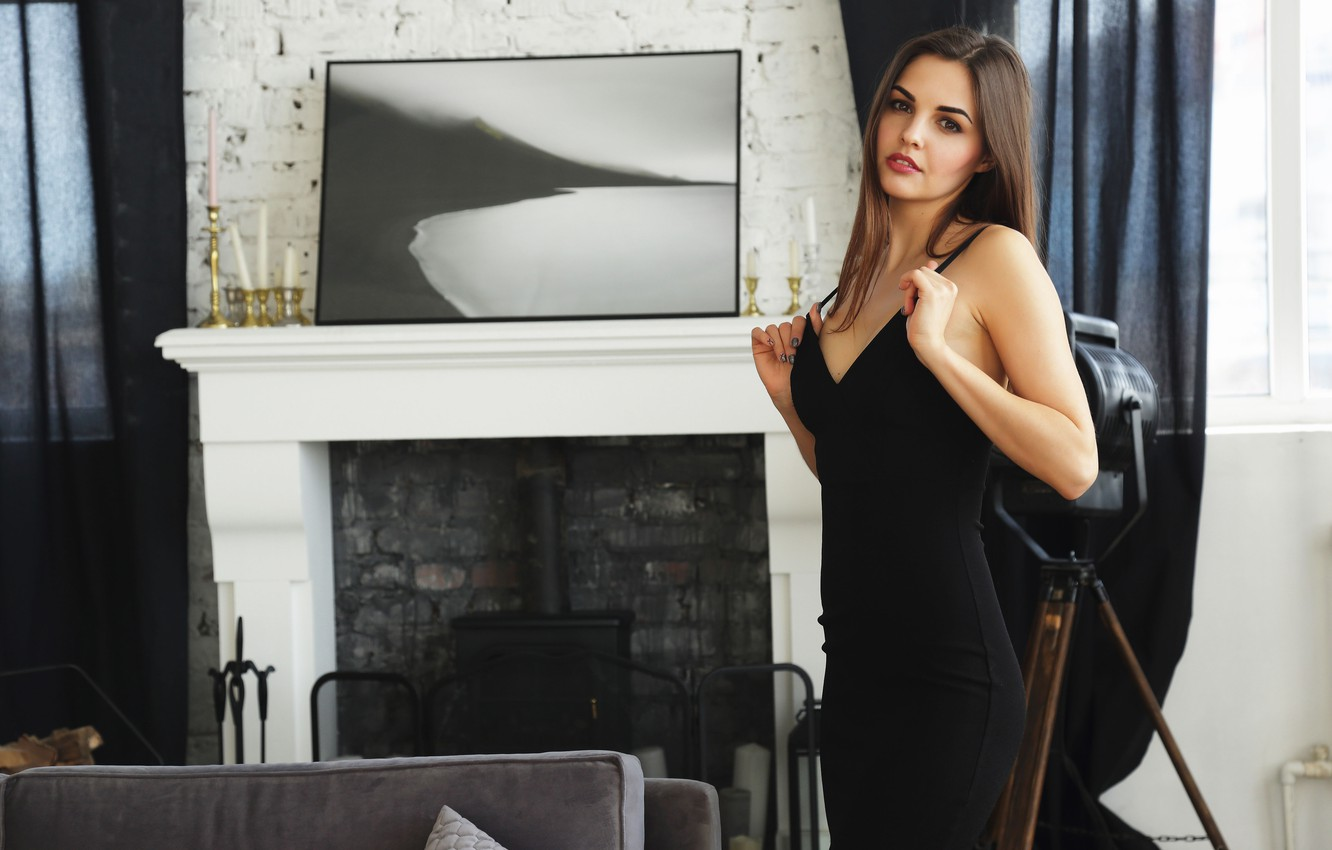 Photo wallpaper look, picture, dress, fireplace, Alise Moreno