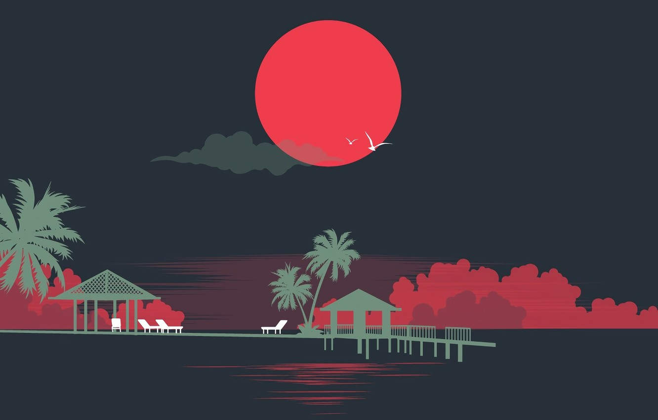 Photo wallpaper The sun, Sea, Music, Style, Palm trees, Silhouettes, 80s, Style, Neon, Illustration, 80's, Synth, Retrowave, ...