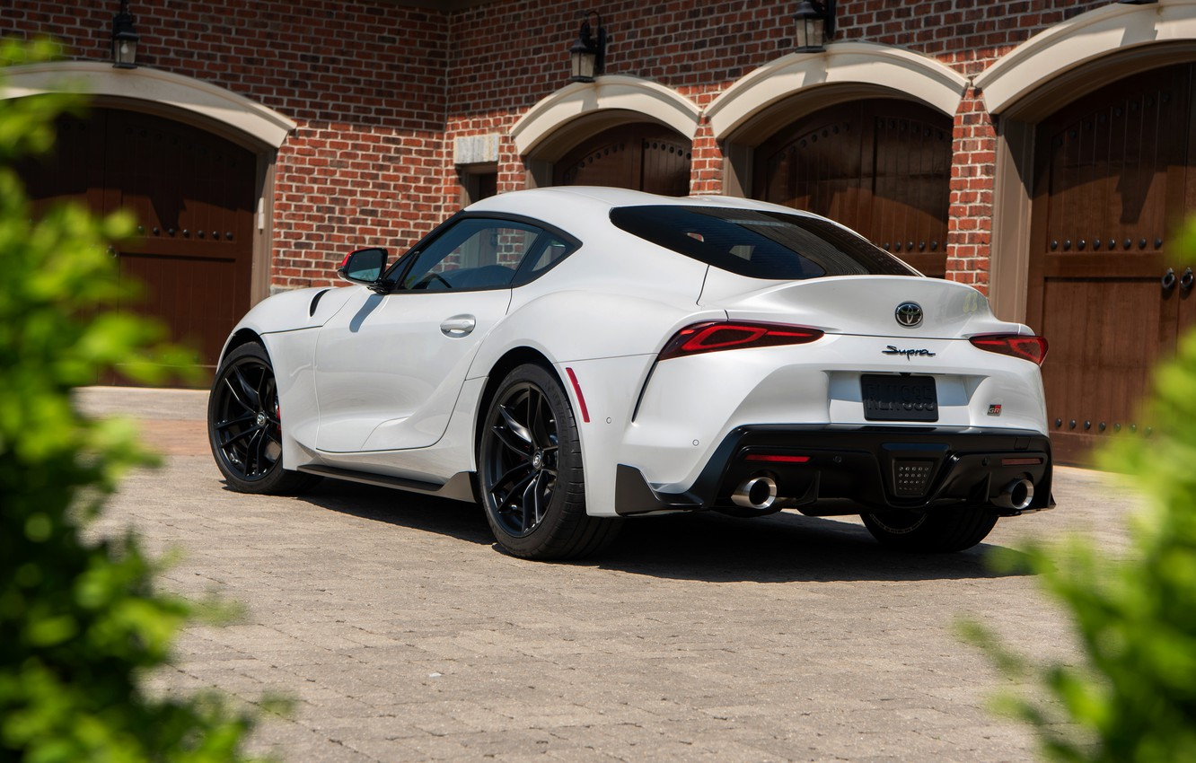 Photo wallpaper white, coupe, back, Toyota, Supra, the fifth generation, mk5, double, 2020, 2019, GR Above, A90, …