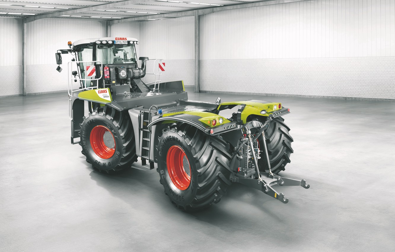 Photo wallpaper photo, large, hangar, tractor, cabin, is, wheel, Claas, big wheels, hydraulics, agricultural machinery, big tractor, …