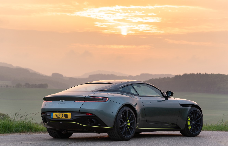Photo wallpaper sunset, Aston Martin, rear view, 2018, DB11, AMR, Signature Edition