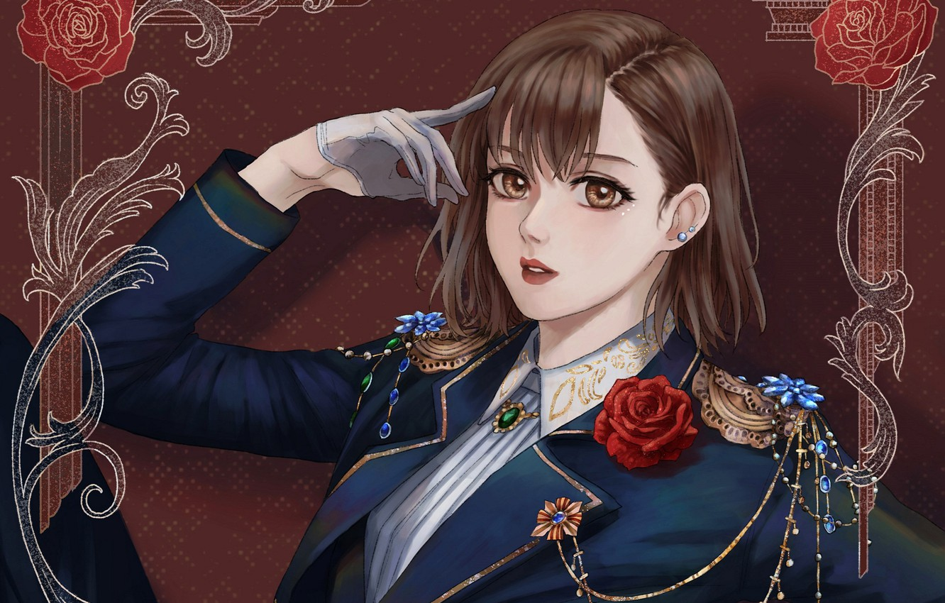 Photo wallpaper gloves, red rose, uniform, in the chair, shoulder straps, brown eyes, portrait of a girl, …