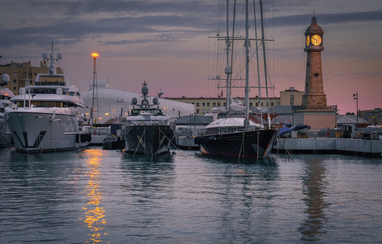 Photo wallpaper water, watch, building, boats, morning, port