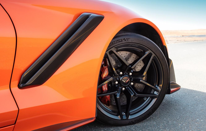 Photo wallpaper orange, wheel, Corvette, Chevrolet, ZR1, 2019