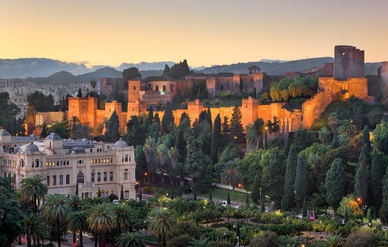 Photo wallpaper trees, the city, palm trees, hills, building, the evening, fortress, Spain, street, Andalusia, Malaga